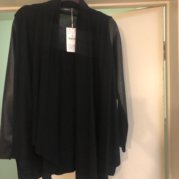 Zara Jackets & Blazers - NEVER WORN black sweater with faux leather sleeves